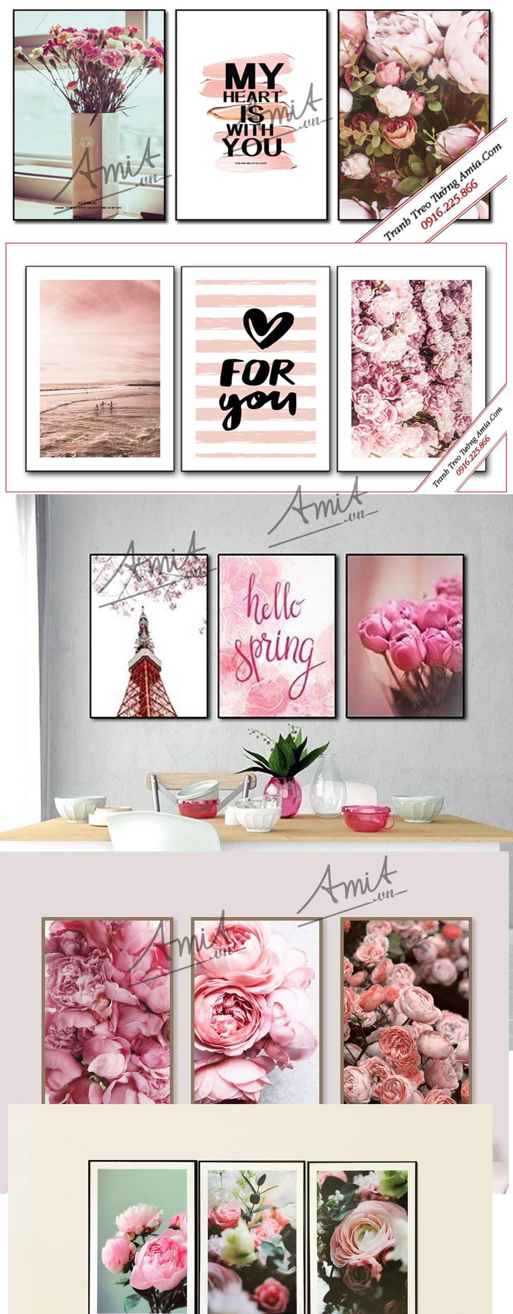 Tranh treo tường phòng ngủ màu hồng lãng mạn
