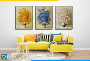Tranh bình hoa mới treo tường phòng khách hiện đại AmiA BH001