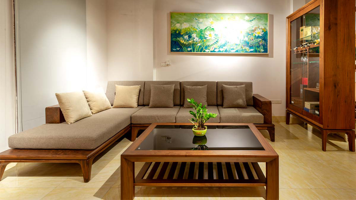 Hình ảnh sofa gỗ góc chữ L sang trọng