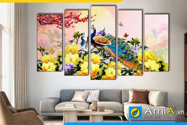 Tranh chim công hoa mẫu đơn vàng treo tường phòng khách hiện đại amiA 1869