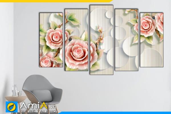 Tranh ghép bộ hoa hồng in giả 3D treo tường Amia 1872