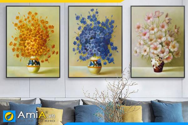 Tranh bình hoa bộ 3 bức in canvas đẹp treo tường phòng khách hiện đại AmiA BH001