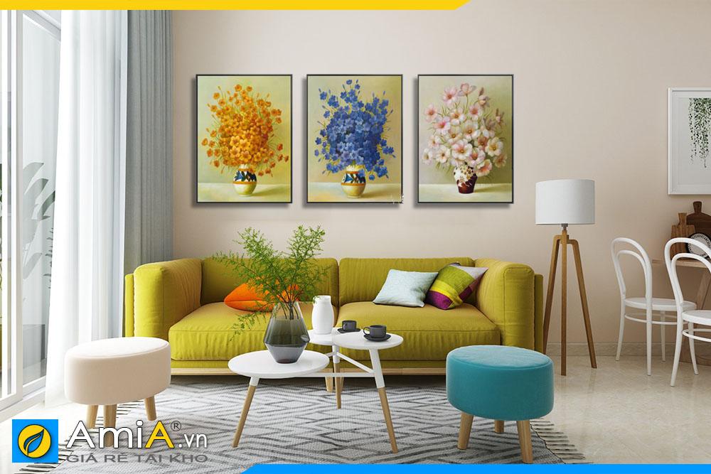 Tranh bình hoa in canvas giả sơn dầu treo tường phòng khách hiện đại, mới mẻ AmIA BH001