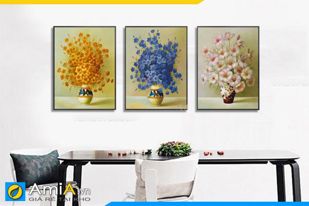 Tranh bình hoa đẹp treo tường phòng ăn AmiA BH001