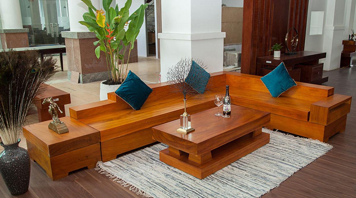sofa gỗ nguyên khối nổi trội