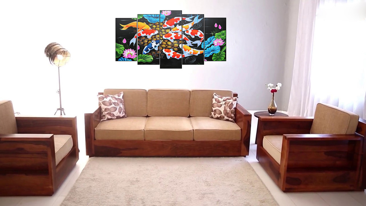 Hình ảnh bộ sofa gỗ nệm màu vàng đất chưa kèm bàn trà