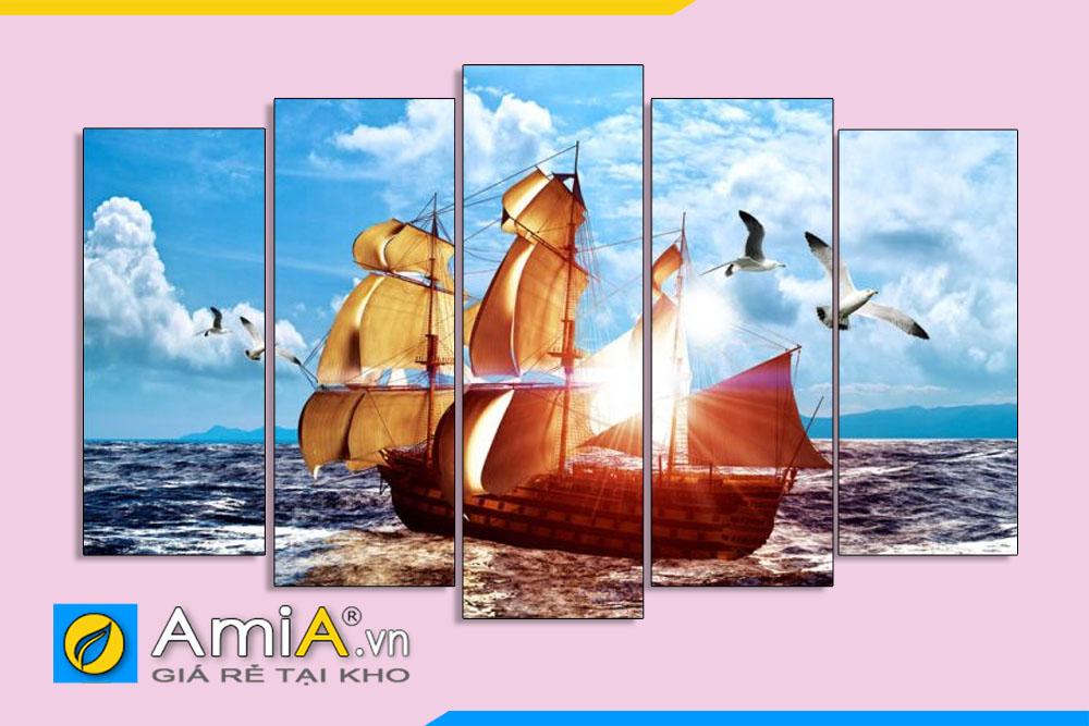 Tranh thuyền buồm ghép bộ 5 tấm AmiA 1873