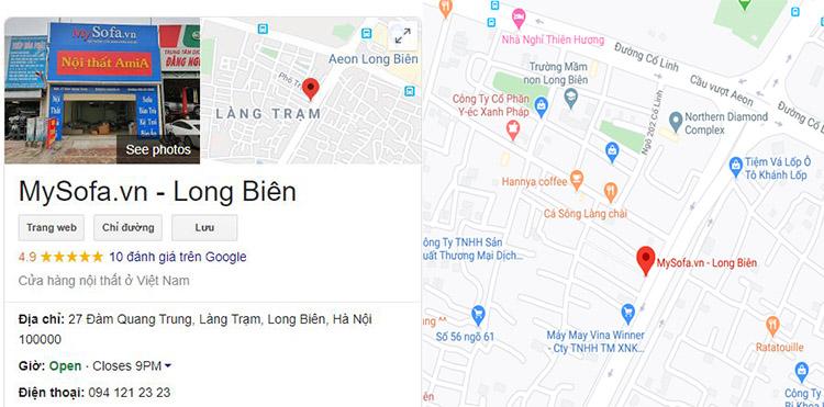 bản đồ địa chỉ bán sofa gỗ ở Long Biên