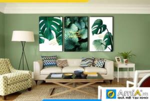 Tranh bộ canvas lá cây Bắc Âu nhiệt đới treo tường phòng khách hiện đại AmiA 1858