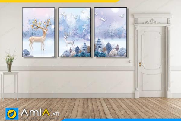 Tranh bộ canvas hươu nai đẹp treo tường hành lang AmiA 1871
