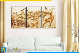 Tranh bộ canvas in giả 3D treo tường phòng khách hiện đại AmiA 1853