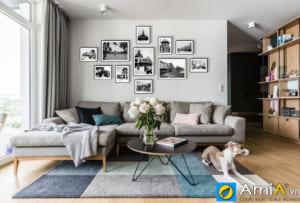Tranh treo tường phòng khách hiện đại bộ tranh đen trắng AmiA 1787