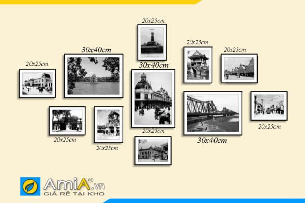 Tranh bộ phố cổ Hà Nội đen trắng bộ 11 bức amia 1787