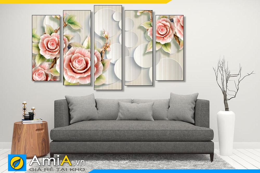 Tranh treo tường phòng khách hiện đại in giả 3D đẹp Amia 1872