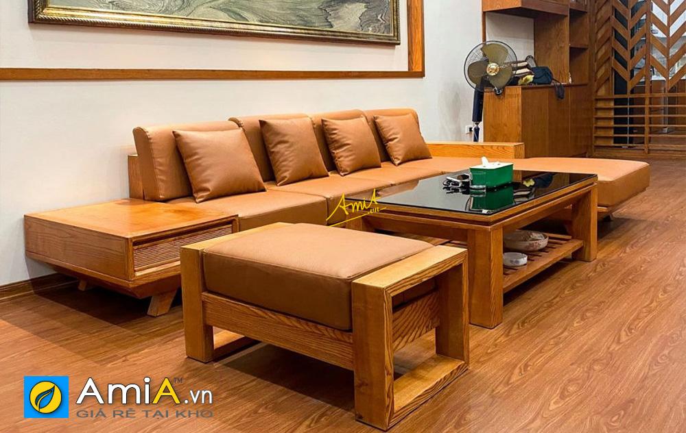 Hình ảnh Bàn ghế sofa gỗ chữ L kê phòng khách đẹp hiện đại