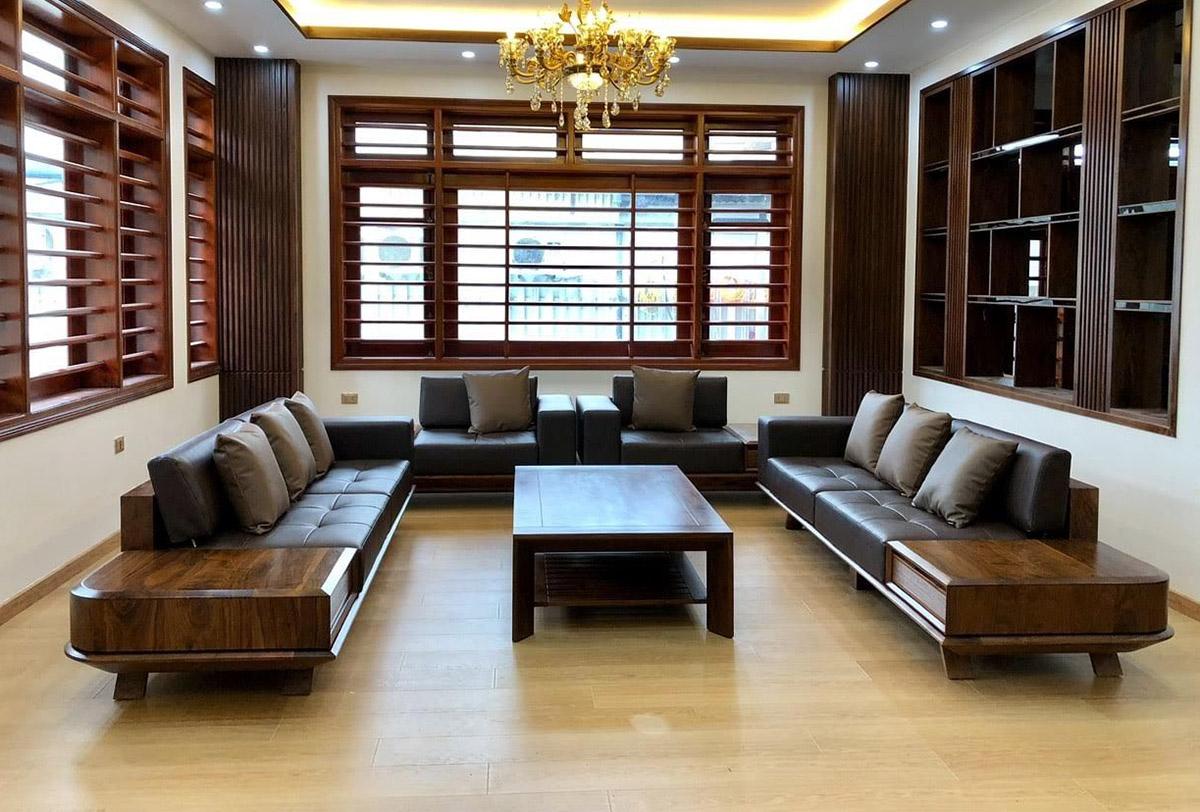 Hình ảnh Bộ bàn ghế gỗ cho phòng khách rộng sang trọng