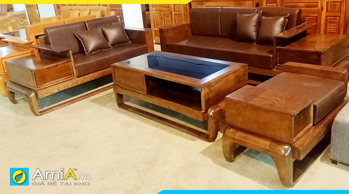 Sofa gỗ theo bộ hiện đại