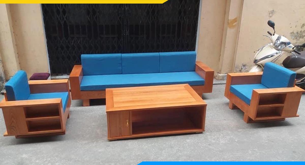 Bộ bàn ghế sofa gỗ kết hợp bởi 1 ghế văng và 2 ghế chủ tạo thành hình chữ U cân đối