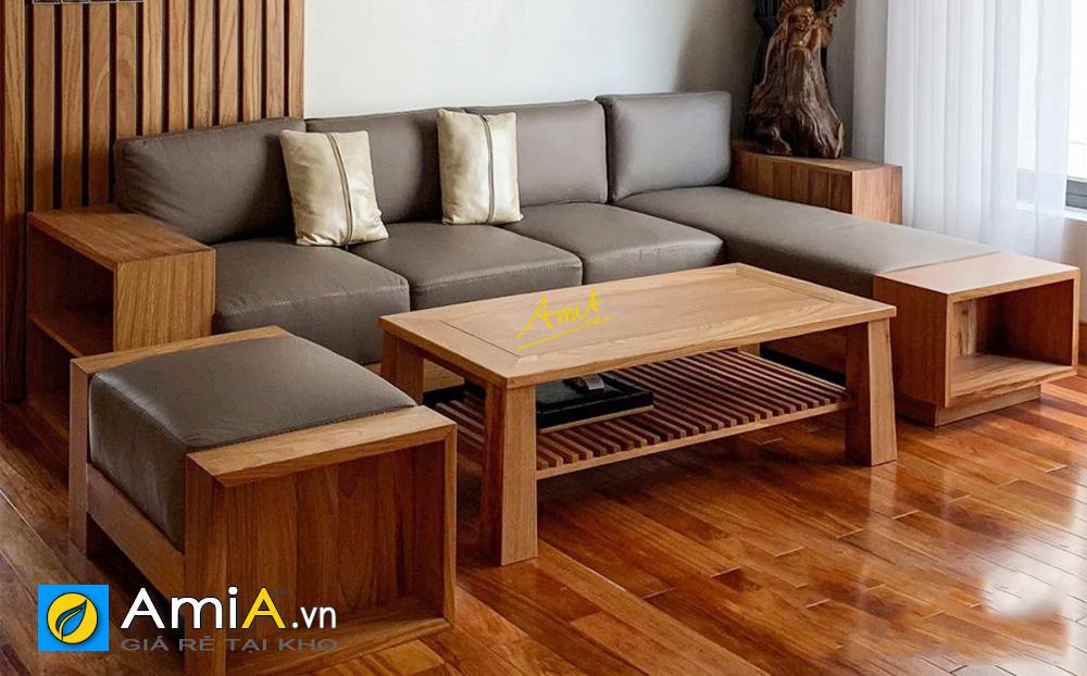 Hình ảnh Bộ ghế sofaa gỗ chữ L kích thước nhỏ xinh cho phòng khách