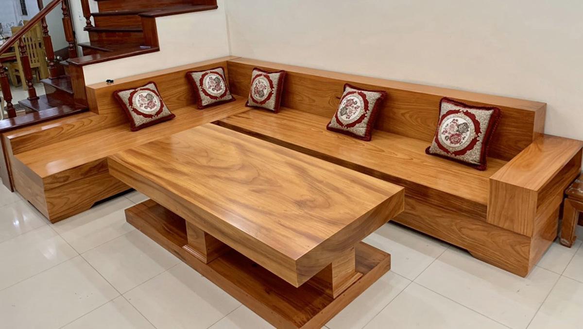 Hình ảnh Bộ ghế sofa gỗ nguyên khối kê phòng khách lớn đẹp