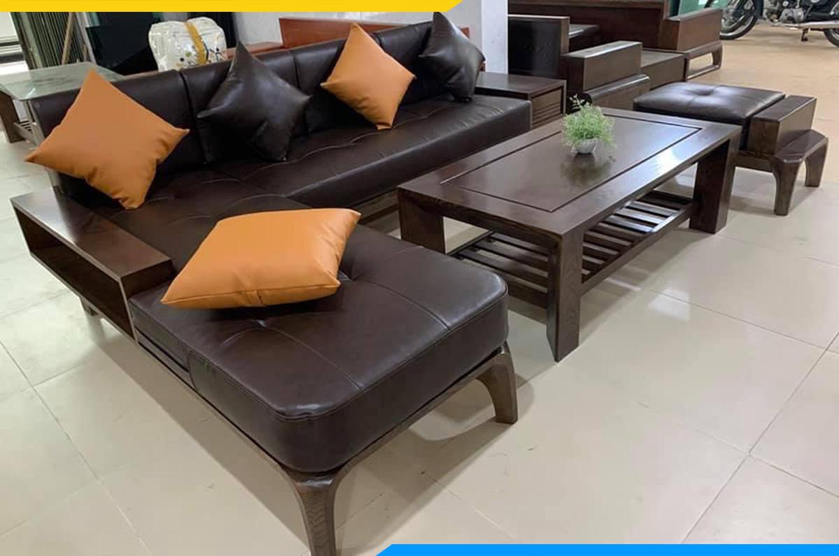 Bộ bàn ghế sofa góc chữ L kèm 1 ghế đôn làm từ gỗ Óc chó hiện đại, sang trọng