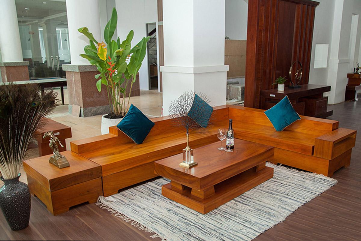 Hình ảnh Bộ ghế sofa nguyên khối góc chữ L kê phòng khách
