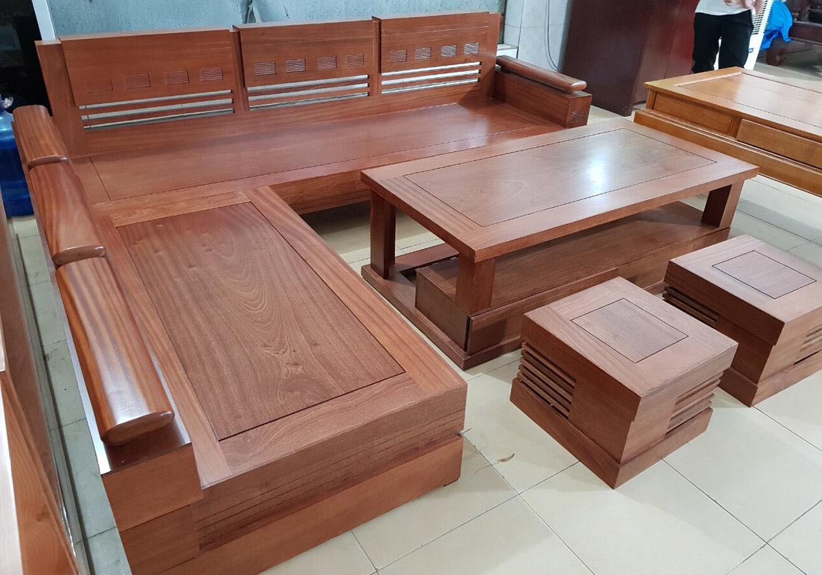 sofa gỗ góc chữ L chưa có đệm lót