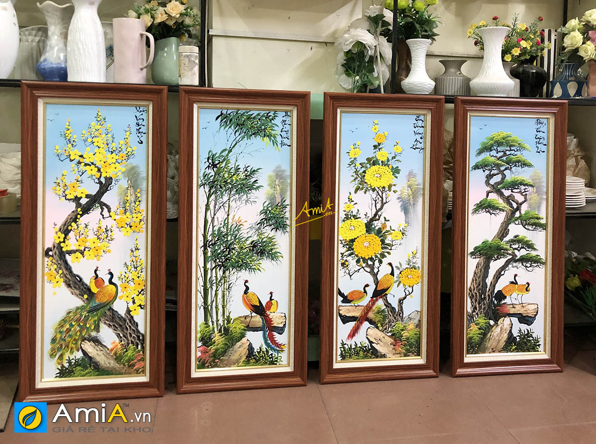Hình ảnh Bộ tranh tứ quý đẹp được khách hàng đặt vẽ sơn dầu theo yêu cầu riêng