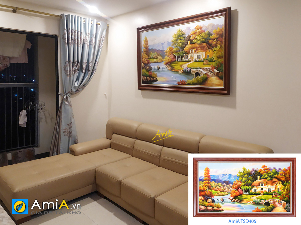 Hình ảnh Bức tranh phong cảnh nước ngoài ngôi nhà hạnh phúc treo phòng khách đẹp