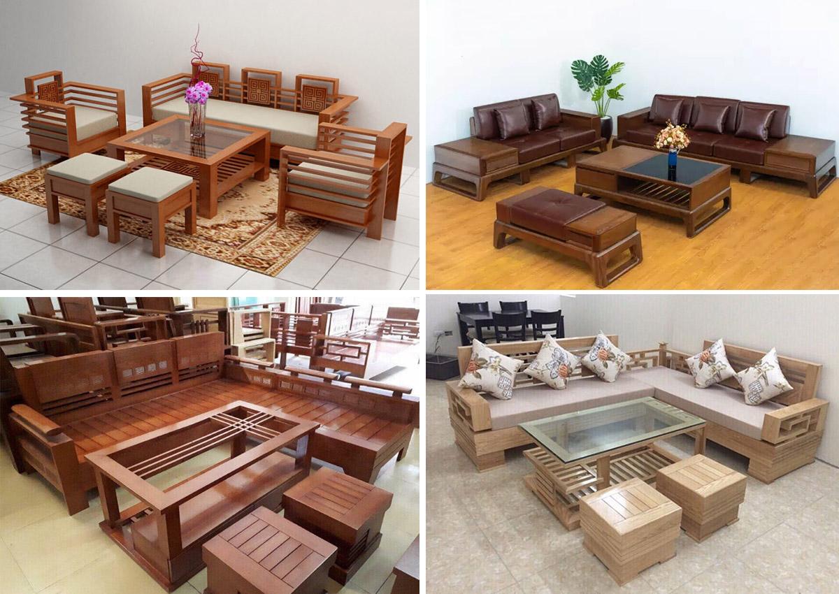 Hình ảnh Các mẫu bàn ghế sofa gỗ phòng khách lớn đẹp sang trọng