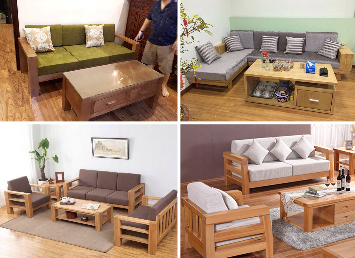 Hình ảnh Các mẫu sofa gỗ phòng khách nhỏ hẹp thiết kế hiện đại