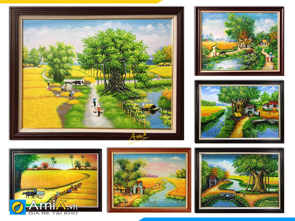Hình ảnh Các mẫu tranh làng quê, đồng quê Việt Nam vẽ sơn dầu đẹp