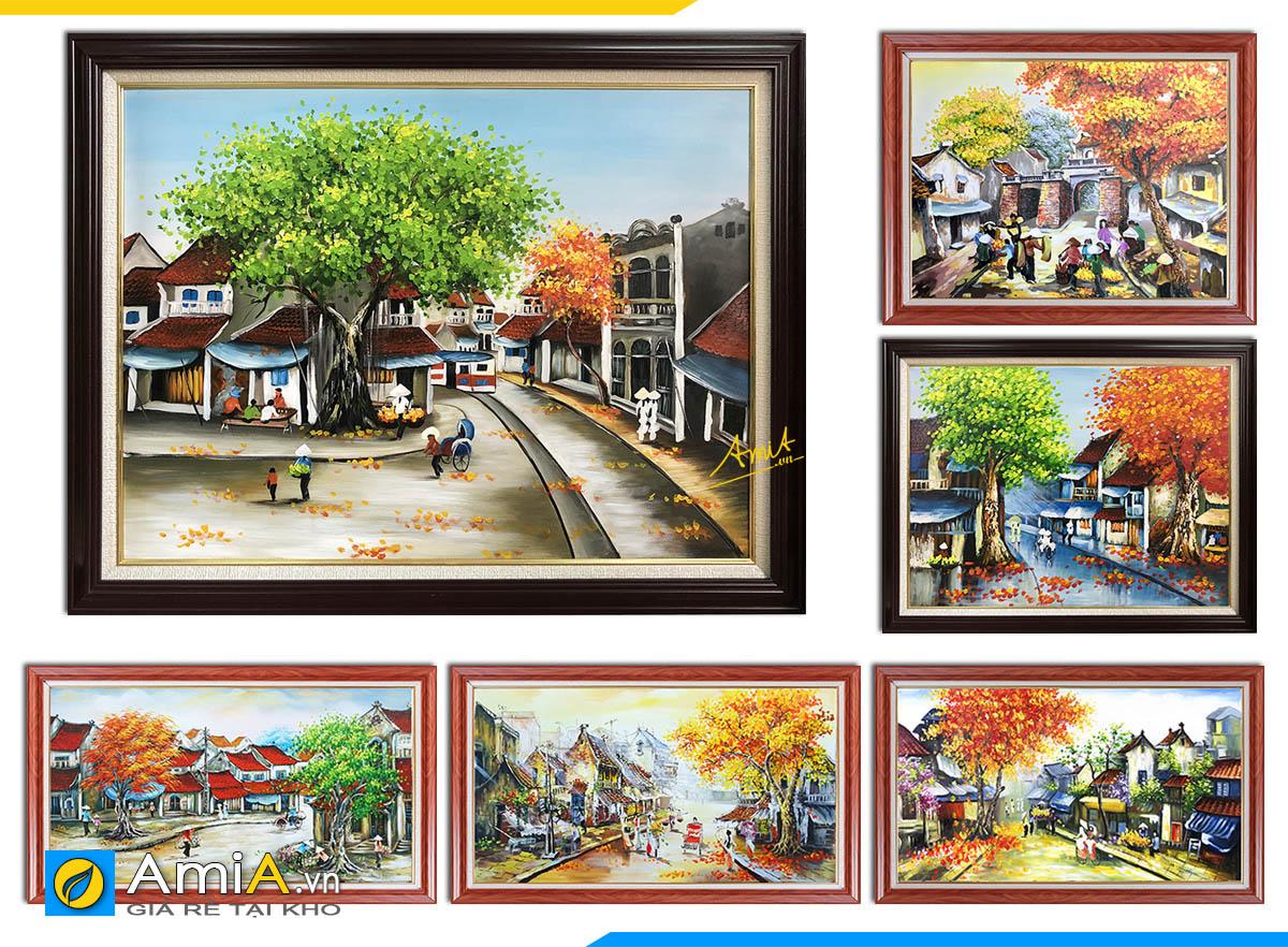 Hình ảnh Các mẫu tranh phố cổ Hà Nội vẽ sơn dầu tại AmiA với nhiều kích thước