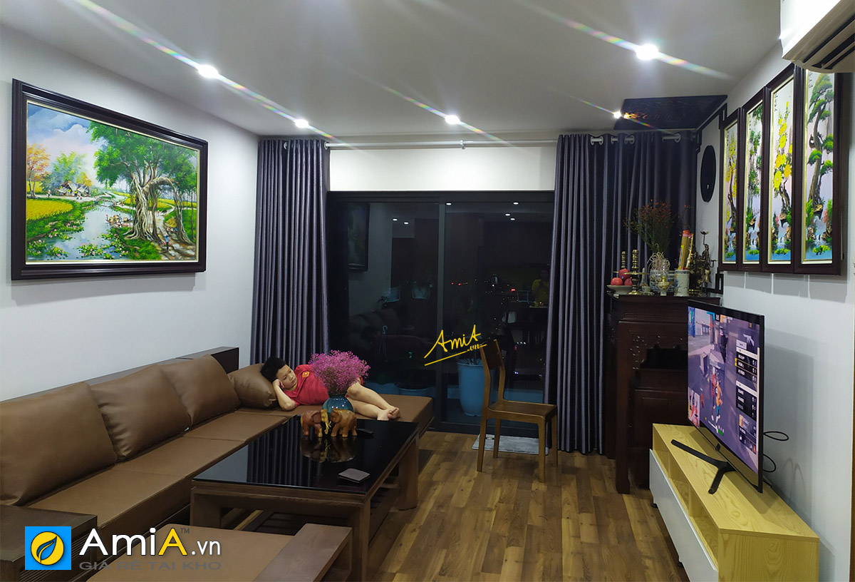 Hình ảnh Combo tranh treo tường nhà chung cư vẽ sơn dầu đẹp