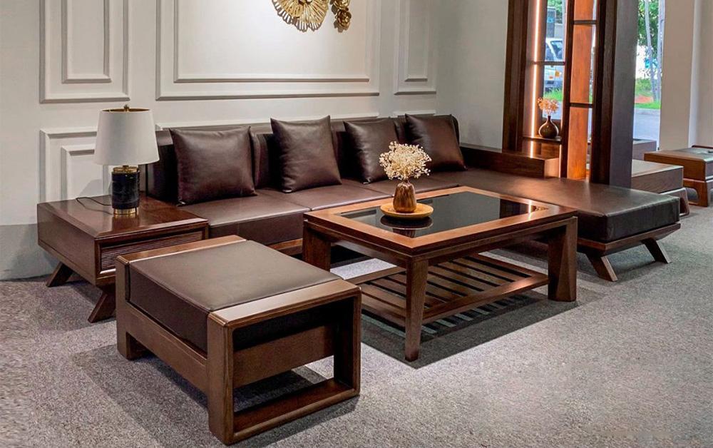 Hình ảnh Ghế sofa gỗ chữ L cho phòng khách rộng đẹp sang trọng và đẳng cấp