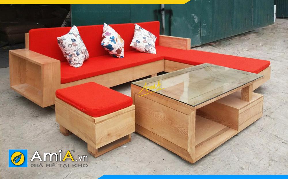 Hình ảnh Ghế sofa gỗ chữ L chụp tại xưởng sản xuất AmiA