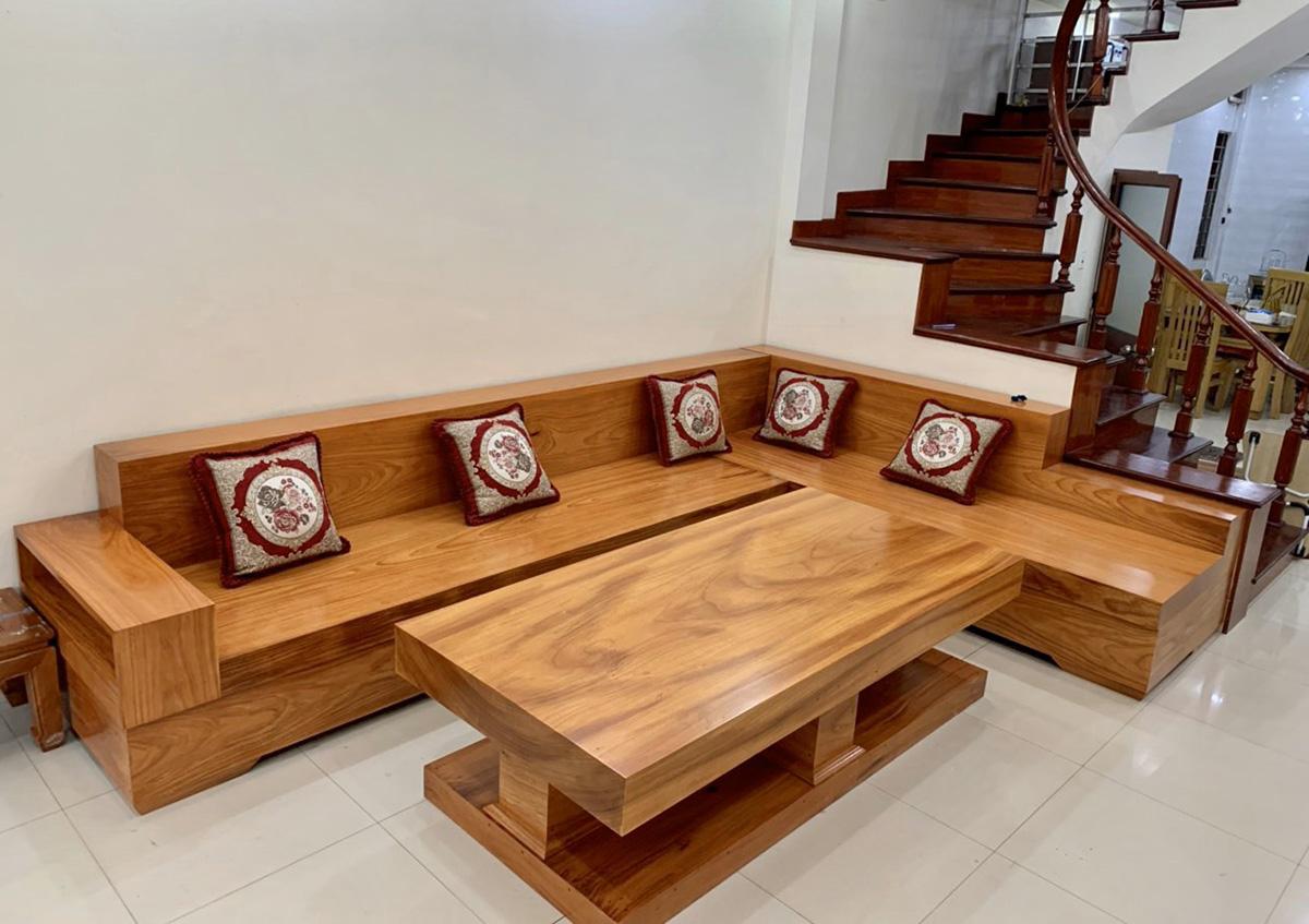 Hình ảnh Ghế sofa gỗ chữ L nguyên khối cho phòng khách lớn