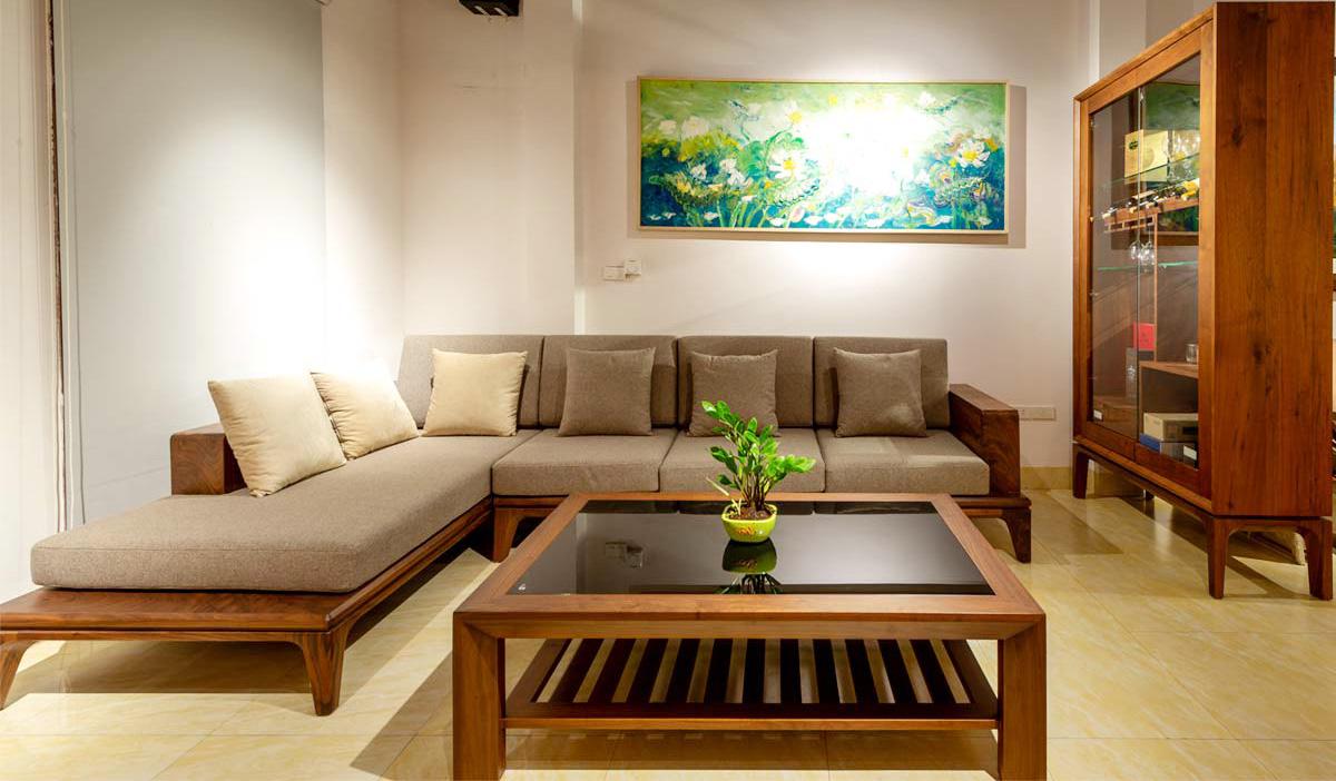 Hình ảnh Ghế sofa góc chữ L cho phòng khách rộng đẹp sang trọng