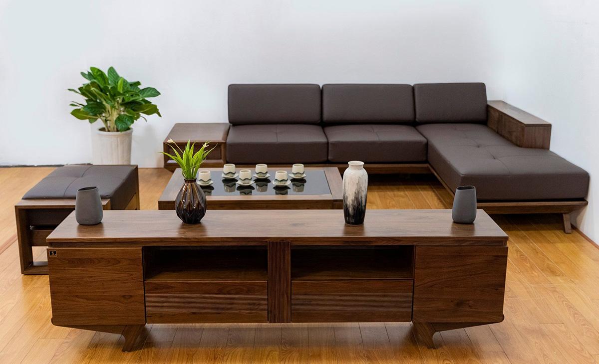sofa gỗ góc mini đẹp