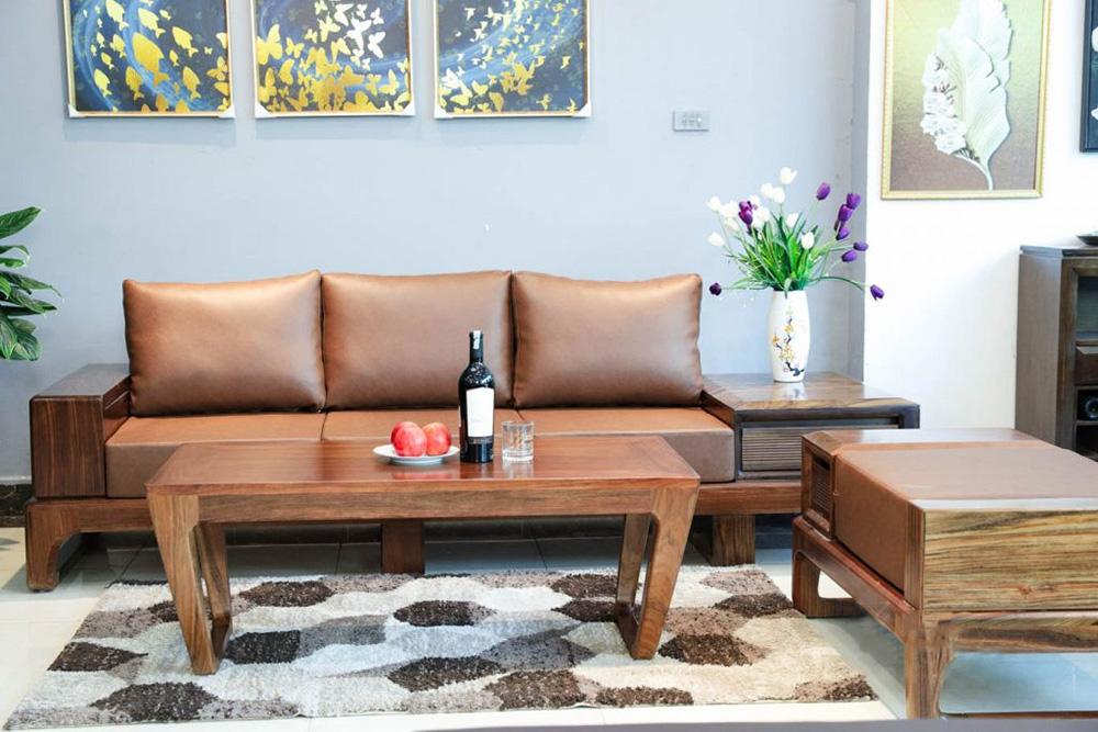 Hình ảnh Ghế sofa văng gỗ cho phòng khách nhà nhỏ đẹp hiện đại