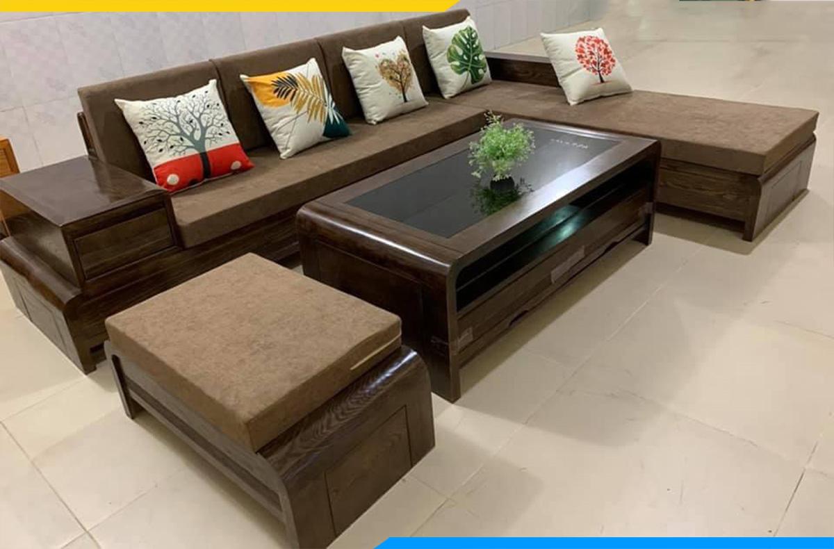 Hình ảnh bộ ghế sofa góc chữ L làm từ gỗ tự nhiên (thiết kế họa tiết gối ôm trẻ trung- tạo thêm điểm nhấn cho bộ ghế)