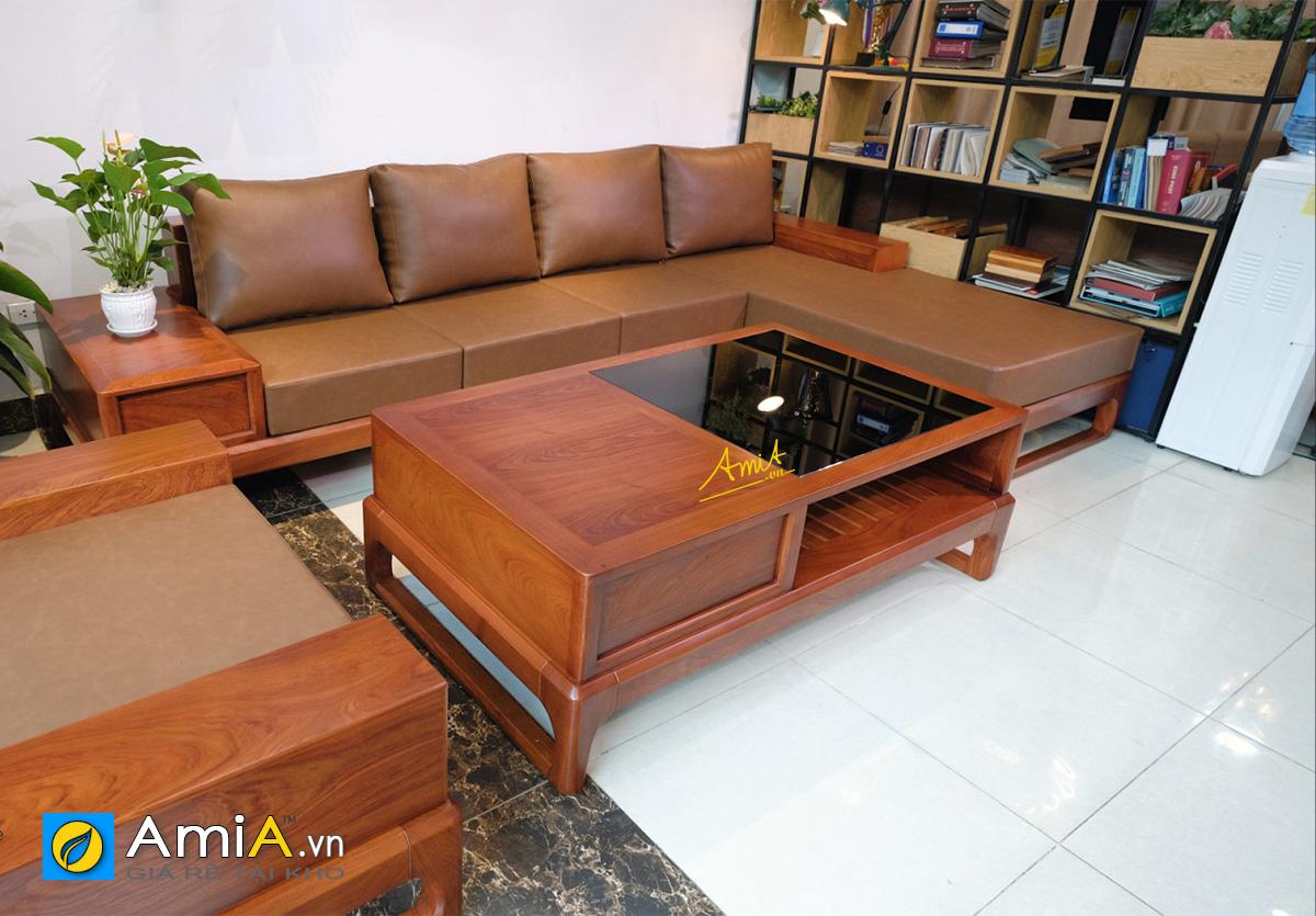 Hình ảnh Mẫu ghế sofa gỗ chữ L đặt làm theo yêu cầu tại nhà khách hàng