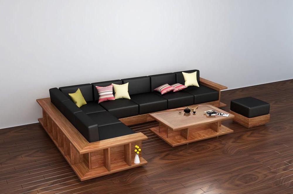 Hình ảnh Mẫu ghế sofa gỗ chữ L tích hợp đệm da sang trọng