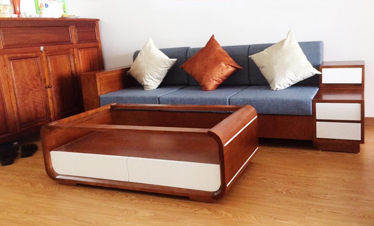 Hình ảnh Mẫu ghế sofa gỗ văng cho phòng khách nhỏ xinh
