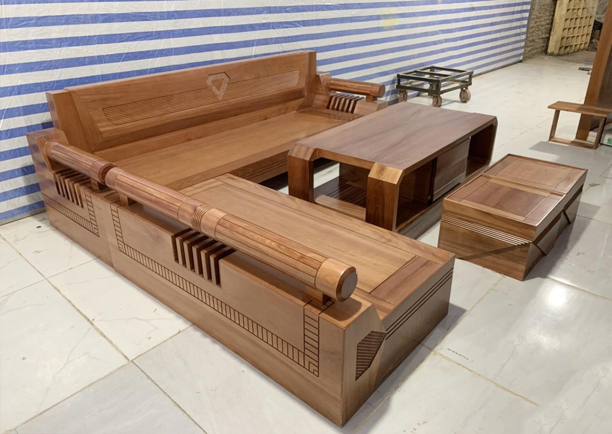 Hình ảnh Mẫu sofa gỗ góc chữ L cho phòng khách đẹp
