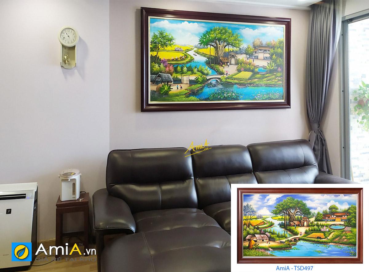 Hình ảnh Mẫu tranh đẹp treo phòng khách chung cư vẽ sơn dầu làng quê mã TSD 497
