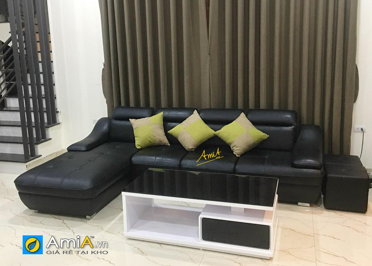 Sofa da làm theo yêu cầu màu tối của khách hàng nhà amia