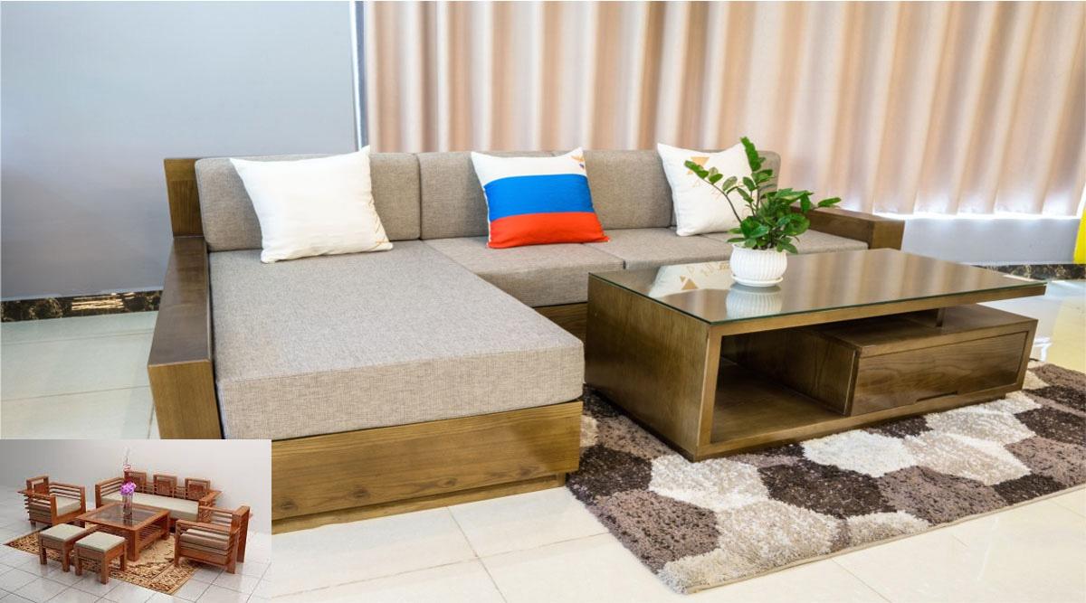 Hình ảnh Sofa gỗ chữ L kê phòng khách hiện đại đẹp