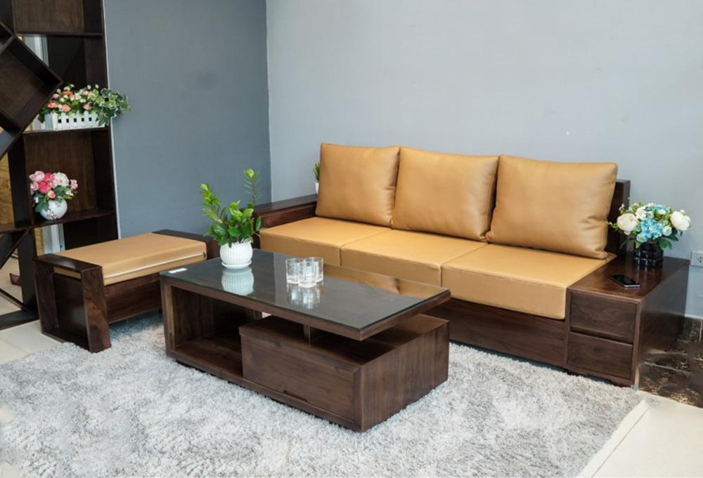 Hình ảnh Sofa gỗ dạng văng kê phòng khách nhỏ đẹp hiện đại