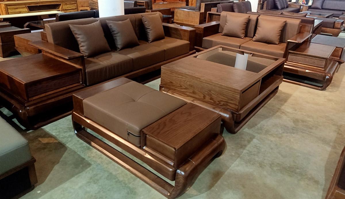 Sofa gỗ dành cho không gian phòng khách rộng